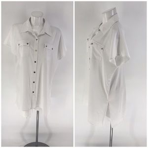 W By WORTH TOP Blouse Button Front White 14
